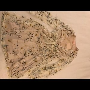 Flower Pattern off-white Dress
